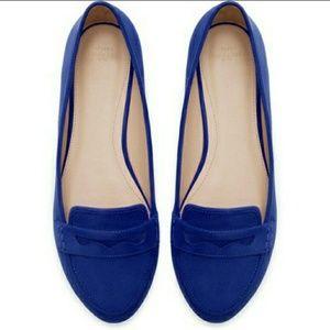 ZARA Trafaluc Blue Suede Loafers